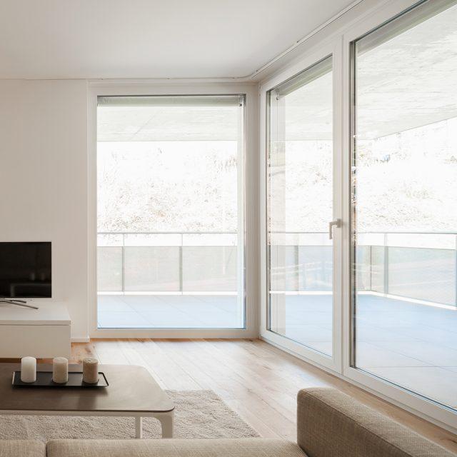 Frontal view of modern minimal living. Nobody inside